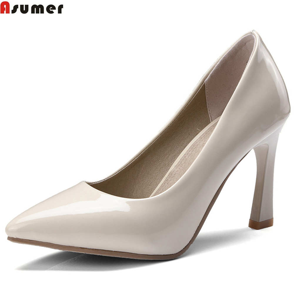 ASUMER black red fashion spring autumn pointed toe shoes woman shallow elegant wedding shoes women high heels shoes size 46 asumer shallow fashion spring autumn shoes woman pointed toe wedding shoes thick heel women genuine leather high heels shoes