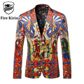 Fire Kirin Blazer Men 2017 Famous Brand Red Velvet Blazer Chinese Style Men Coats And Blazers Vintage Suit Fashion Jacket Q206