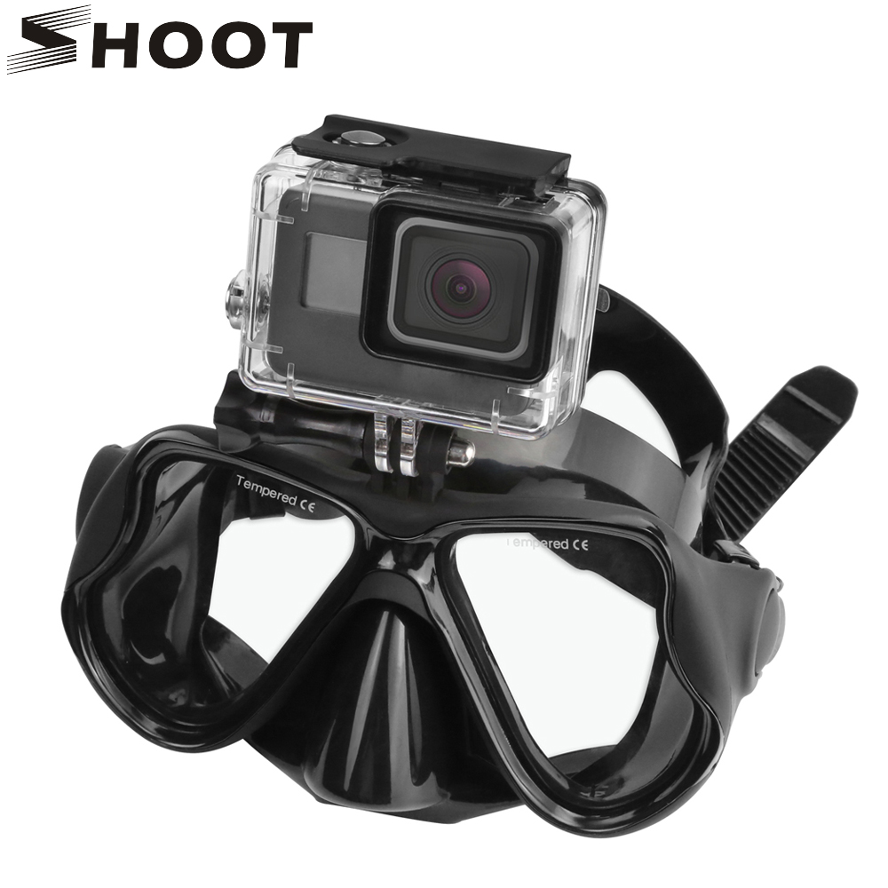 SHOOT Swimming Mask Tempered Glasses Diving Mask For Gopro HERO 6 5 4 Yi 4K SJ4000 H9 Camera Scuba Snorkel Mask Go Pro Accessory hwcamera mount diving mask scuba snorkel swimming goggles for gopro hero 2 3 new arrival