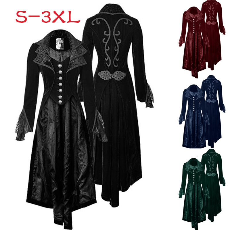 Women Maxi Steampunk Goth Lace Trench Victorian Vintage Black Costume Slim Fit Long Double Lapel Collar Coat For Lady Halloween