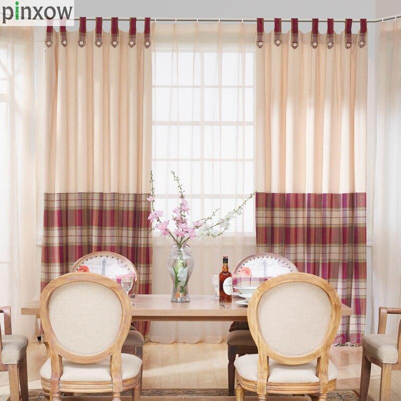cortinas para la sala de estar de lujo chenille gruesa plaid cortinas para el dormitorio comedor ventana ciega escocia rojo suav