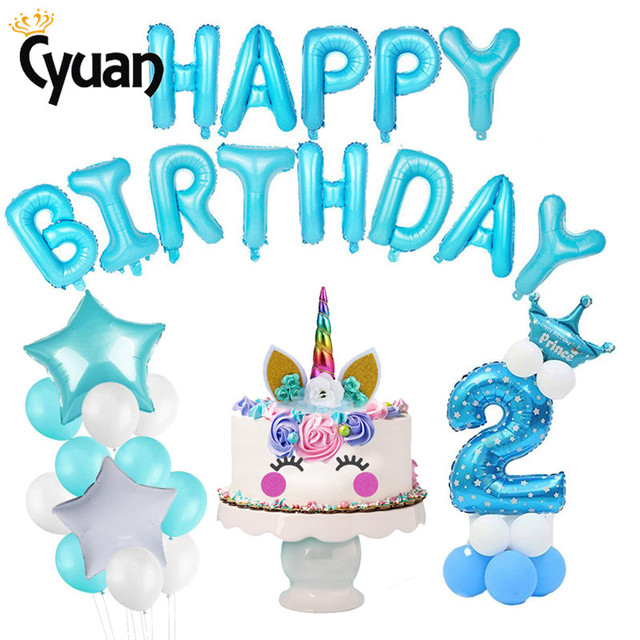 2nd Birthday Boy Girl Party Supplies 2 Year Old Kids Number Balloon Pink Blue Theme Decoration Babyshower