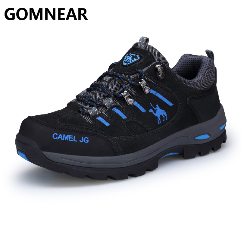 GOMNEAR Sneakers Men Outdoor Fishing Trekking Tourism Non-Slip Camping Sports Shoes Comfortable Leather Men's Boots Black shoe цена