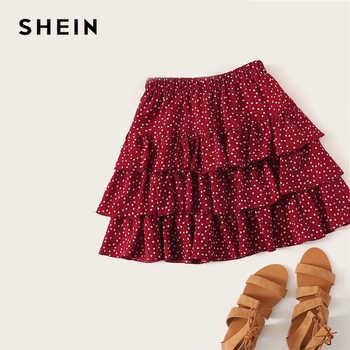 SHEIN Burgundy Heart Print Layered Ruffle Above Knee Skirt Women Summer Elegant Mid Waist  Casual Solid Velvet Mini Skirt - DISCOUNT ITEM  45% OFF All Category
