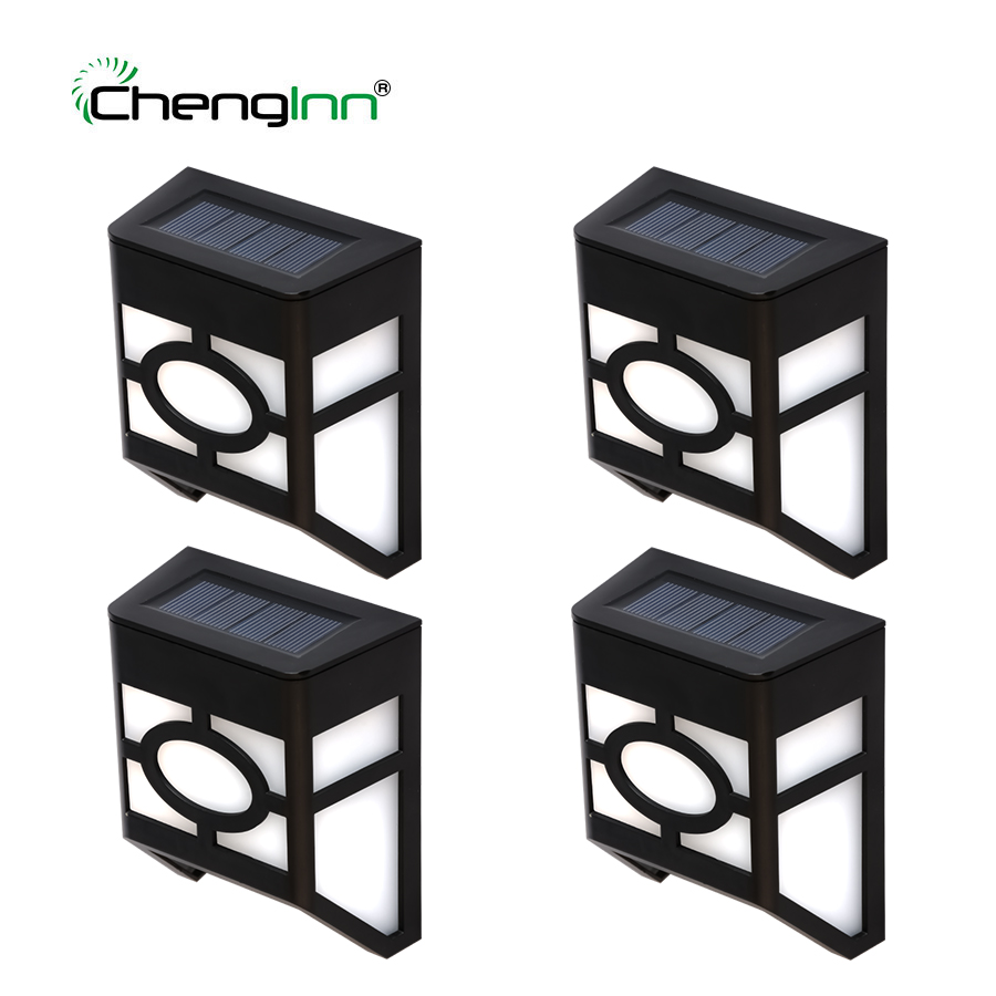 4-Pack PIR Motion Sensor LED Solar lamp Light Waterproof Solar Panel Powered Wall Lamp Security Lights for Outdoor Garden Patio youoklight 0 5w 3 led white light mini waterproof solar powered fence garden lamp black