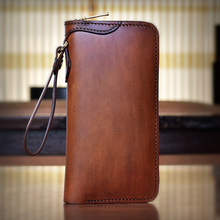 OLG.YAT handmade men wallets retro handbag mens bag Itanlian Vegetable tanned leather wallet long zipper purse hand brush color