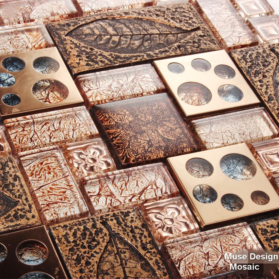 Tiles For Kitchen Backsplash Cabinets Refinishing European Style Rose Gold Metal Mixed Glass Leaf Mosaic ...