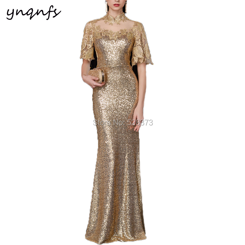 YNQNFS Robe Soiree Evening Party Illusion High Neck Flare Sleeve Gold Sequins Mother Of Bride/Groom Dresses Elegant 2019 MD284