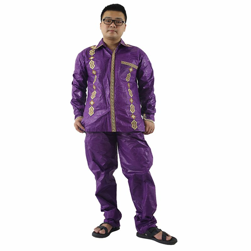 H & D 100% bomull Mens afrikanska män kläder dashiki man kostymer - Nationella kläder - Foto 4