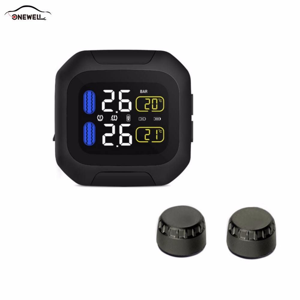 ONEWELL Original Motor Tire Pressure Monitoring System Wireless TPMS Motorrad Reifen Alarm 2 Externen Sensor Moto Werkzeuge