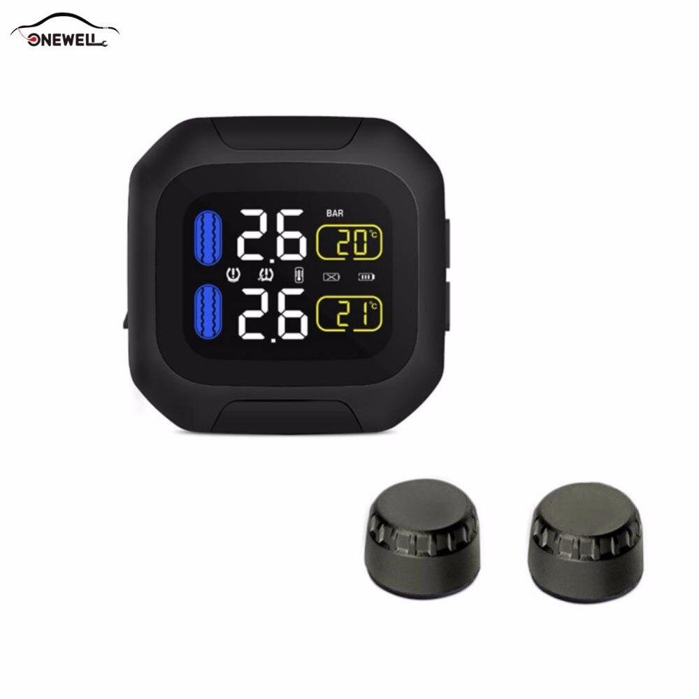 ONEWELL oryginalny system monitorowania ciśnienia w oponach silnika bezprzewodowy Alarm motocyklowy TPMS 2 czujnik zewnętrzny Moto Tools
