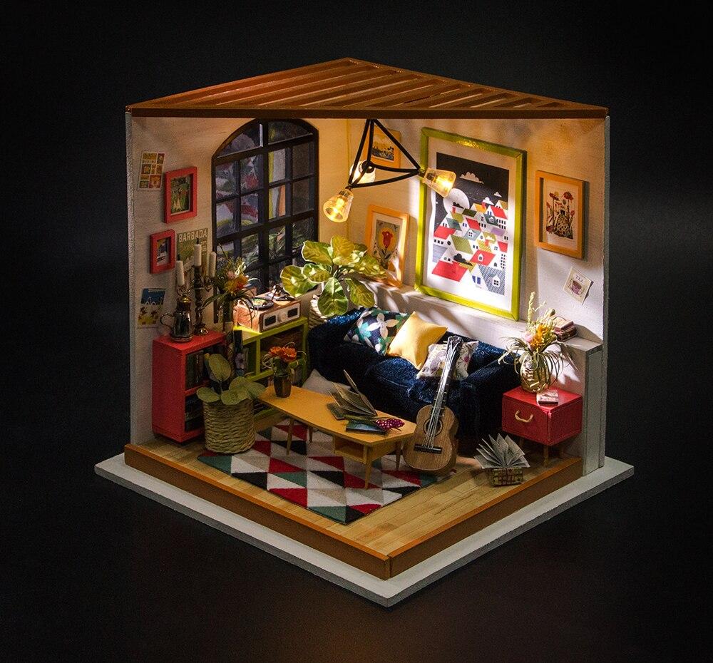 Robotime DIY Locus Sala de estar con muebles Niños en miniatura Casa - Muñecas y accesorios - foto 3