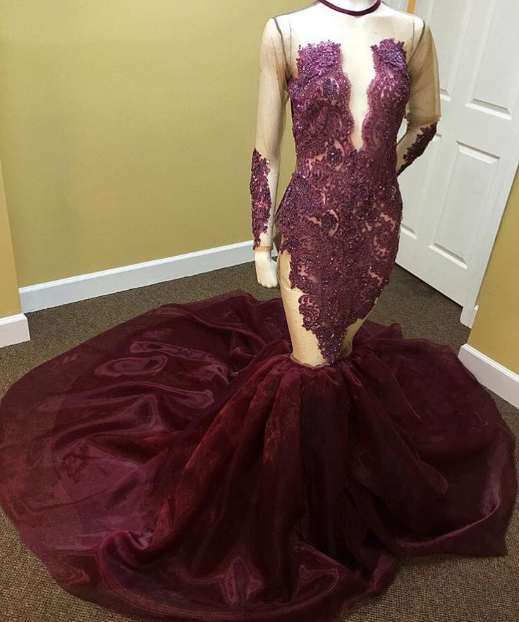 Burgundy 2019   Prom     Dresses   Mermaid Long Sleeves Lace Bead See Through Party Maxys Long   Prom   Gown Evening   Dresses   Robe De Soiree