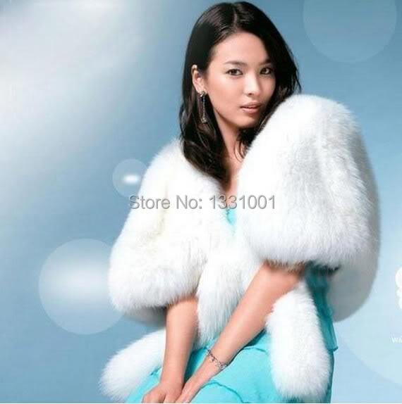 Обычный заказ белый мех болеро мех палантин свадьба аксессуары куртка для Noiva