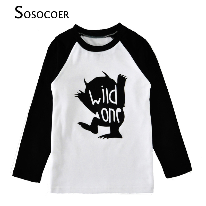 SOSOCOER Boy T-shirts Autumn Cartoon Wild One Long-Sleeve Girl T Shirt 2018 New Brand Cute Moster Kids T Shirts For Baby Clothes ad cute solid color kids t shirts 100
