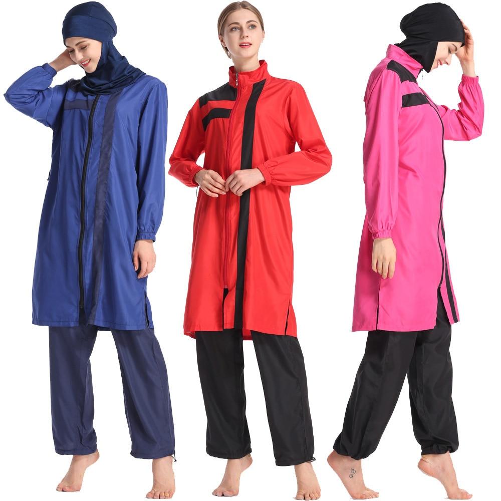 2019 Three Piece Women Islam Zipper Long Sleeve Modest Muslim Swimwear Plus Size Hijab Full Cover