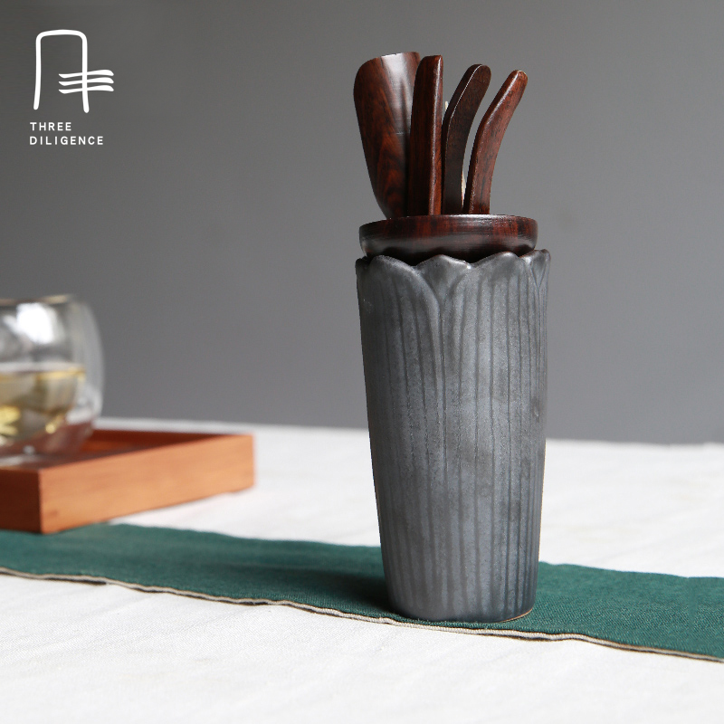 ebony material ox horn needle kiln ceramic tube tea ceremony necessary joker tea accessories tea holder spoon knife mid-year