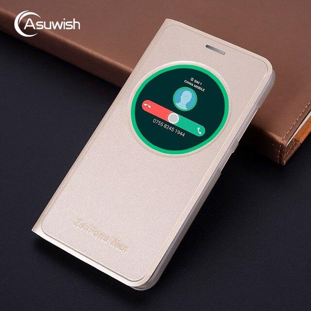 new product 445ee c7caa US $3.98 20% OFF|Asuwish Smart View Flip Cover Leather Case For Asus  Zenfone Max Pro ZC550KL 5.5 ZenfoneMax Phone Case Cover Original Bag  Window-in ...