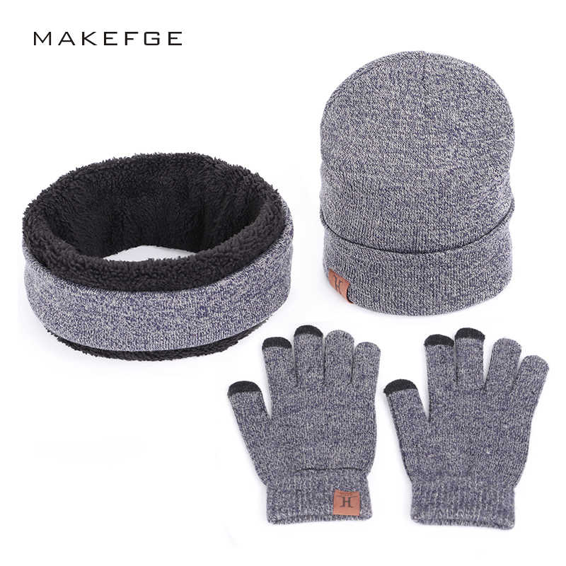 d3dbe5d391 Autumn and winter new solid knitted cotton caps bib touch screen gloves  warm and comfortable men
