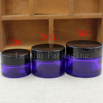 20G 30G 50G Purple Glass Cream Jar With Black Screw Cap, Beauty Skin Care Cream Bottle ,Empty Cosmetic Container (15 PC/Lot)