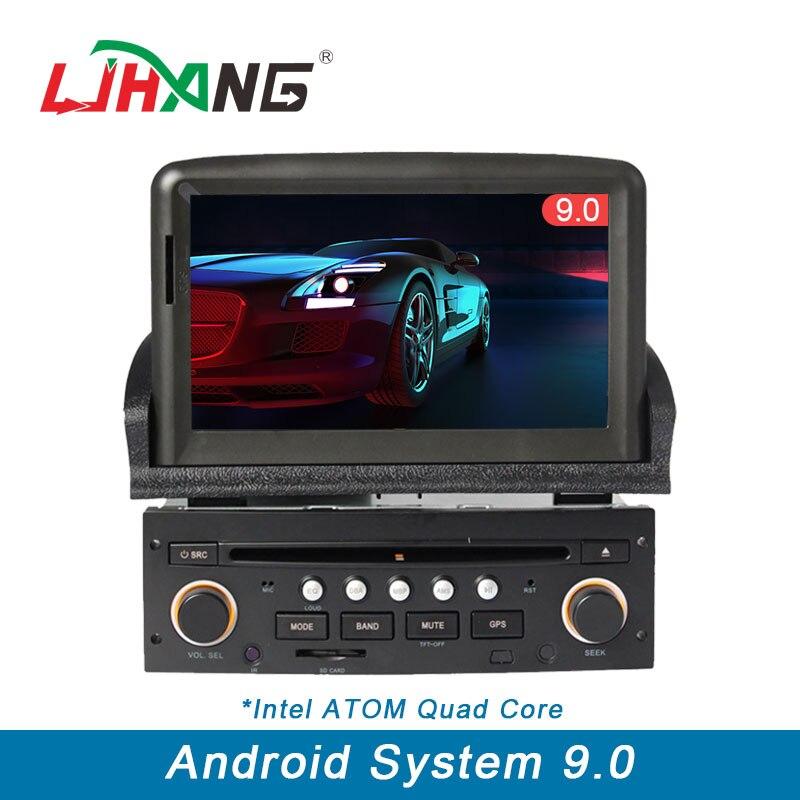 LJHANG 1 Din DVD Player Do Carro Android 9.0 para Peugeot 307 Controle Da Roda de Direcção Do Bluetooth RDS GPS Navi Multimedia Automotivo WI-FI