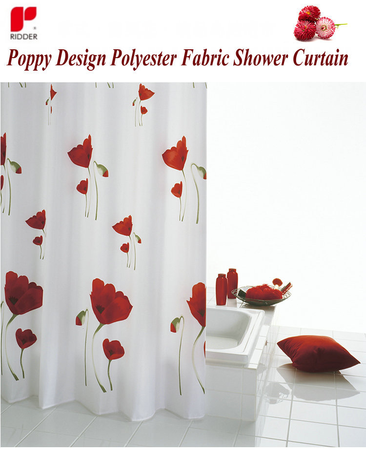 ridder tessuto in poliestere papavero disegno tenda della doccia bagno impermeabile tenda della ...