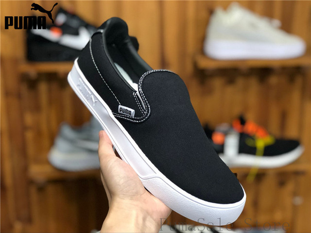 ac83aa798aaa Original PUMA Smash Vulc Slip on K Men And Women Shoes 367617 01 Black  Badminton Shoes Sneakers Size EUR35.5-44