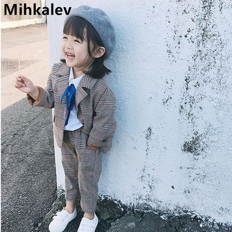 2019 baby spring autumn clothes for children clothing set long sleeve plaid jacket+pants 2pieces kids tracksuit girls set suit2019 baby spring autumn clothes for children clothing set long sleeve plaid jacket+pants 2pieces kids tracksuit girls set suit