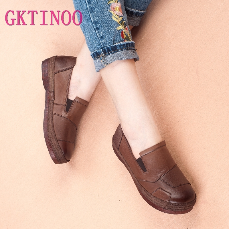 GKTINOO Women's Retro Shoes 2019 Spring Autumn Genuine Leather Women Shoes Flat Platform Ladies Shoe Non-slip Handmade Shoe(China)