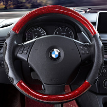 цена на KKYSYELVA Steering-Wheel Black Car Sport Steering Wheel Cover Leather Steering Covers Universal 38CM wheel cover
