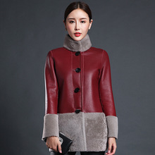 Winter Female models lambswool Merino fur one In the long section jacket