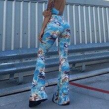 Angel Print Boot Cut Pants Women Streetwear Blue Spring Autumn Vintage Slim Sexy High Waist Flared Trousers 2019 hot sale