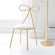 Качественное металлическое кресло, модный скандинавский барный стул для отдыха, современный стул для макияжа, обеденный стул с бантом, форма спинки с поролоновой губкой
