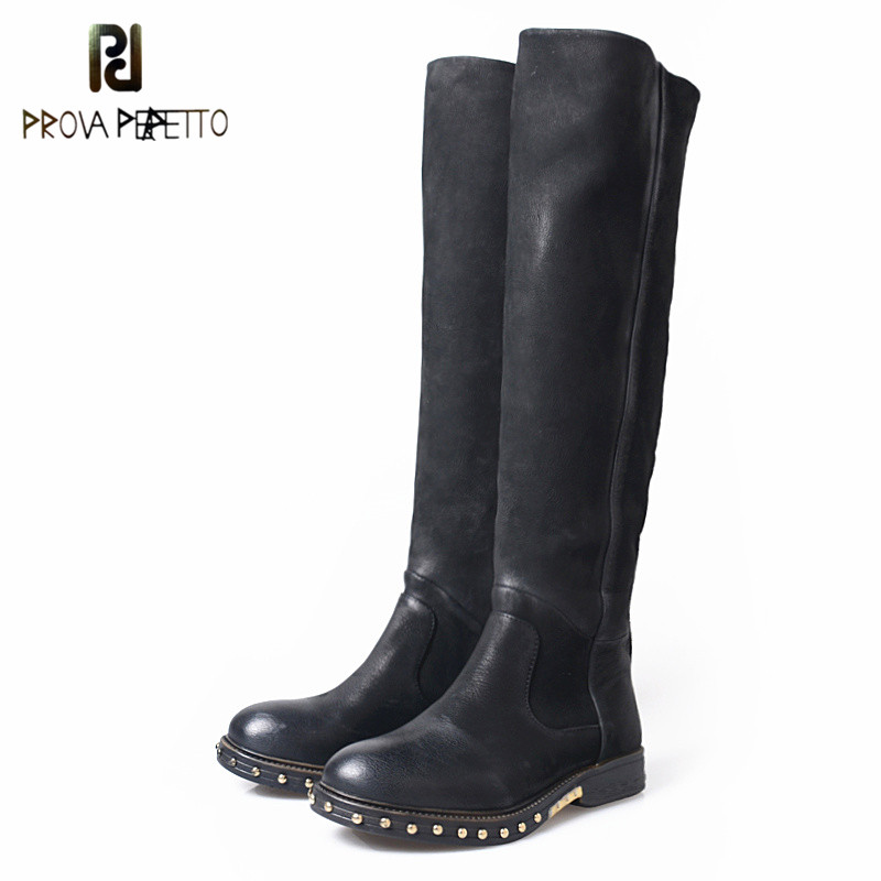 Prova Perfetto New Style Woman High Boots Fashion Rivet Round Toe Low Heels Boots Women High Quality Real Kid Suede Knight Boots handmade quality custom sexy charm contracted style leather side zippers rivet women s knight boots