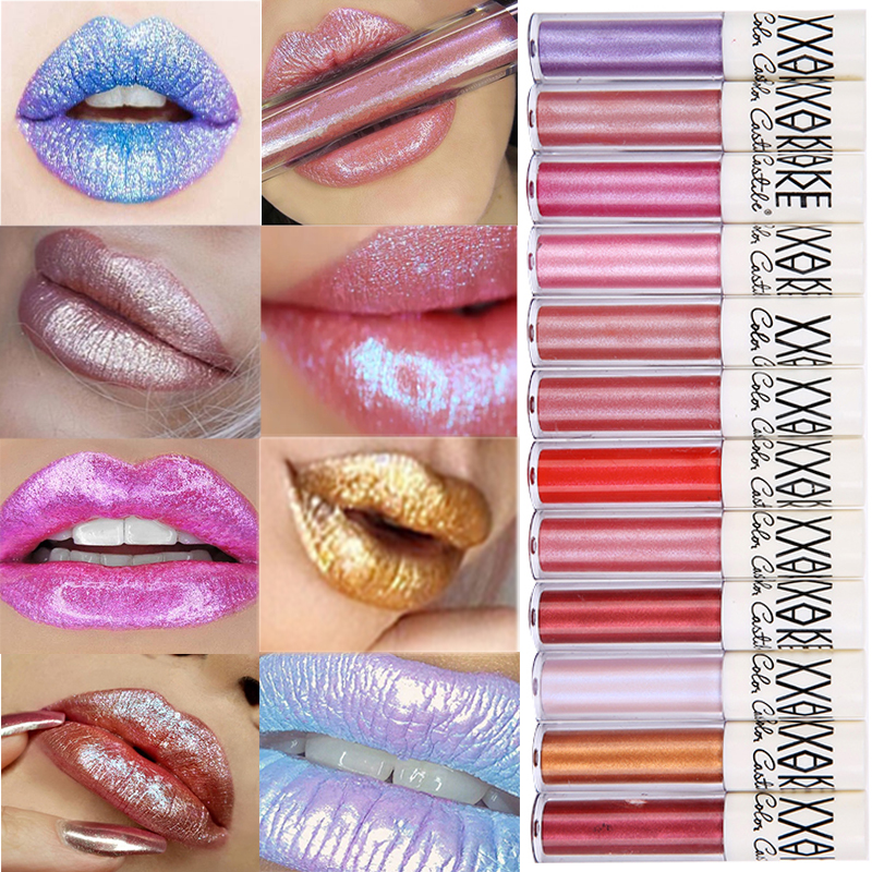 Sexy Glitter Makeup Crystal Liquid Lips Cosmetics Diamond Shine Lip Metallic colors Matte Lipstick Waterproof Lasting 12 colors