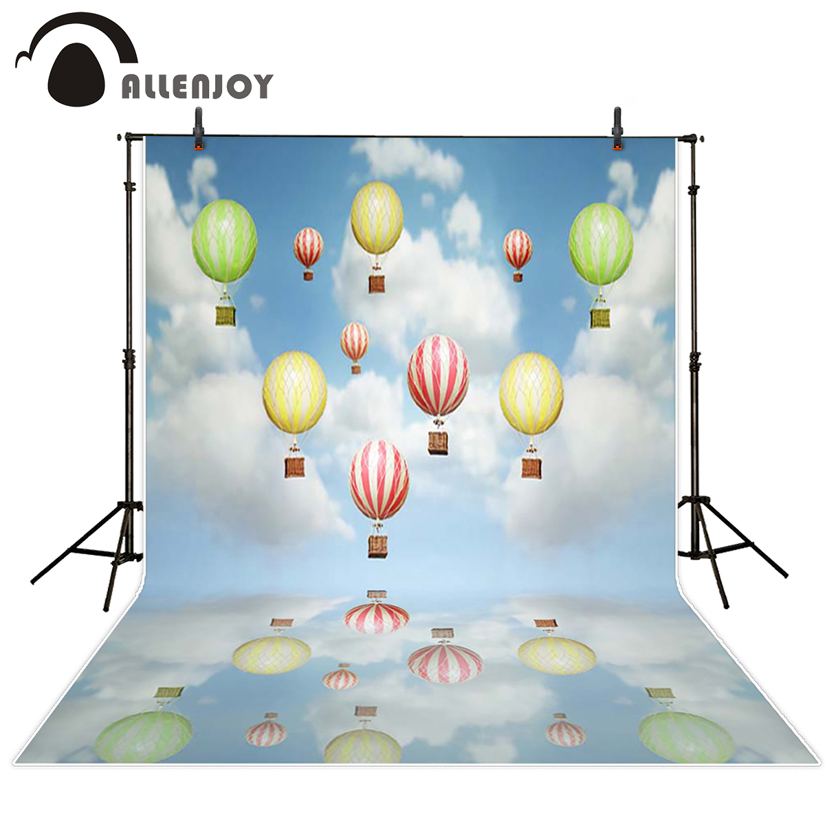 Allenjoy baby background Sky hot air balloon reflection cute for children photography backdrops For a photo shoot photocall