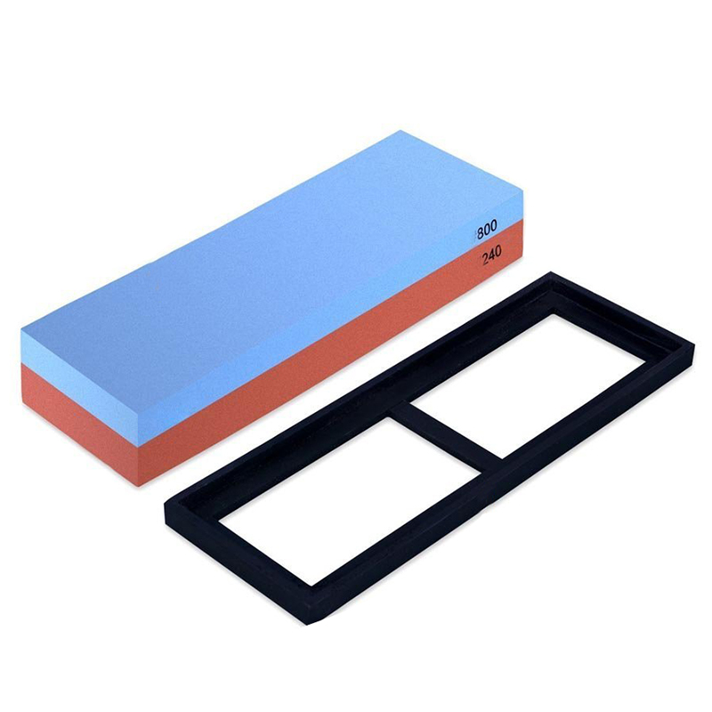 Hot sale 240/800 Grit Combination Whetstone Two-Sided Knife Sharpening Stone Whetstone with Slip-resistant Rubber Base for Hol