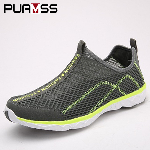 a2eb08cf5766 2018 Men Aqua Shoes Outdoor Breathable Beach Shoes Lightweight Quick-drying  Wading Shoes Sport Water Camping Sneakers Black