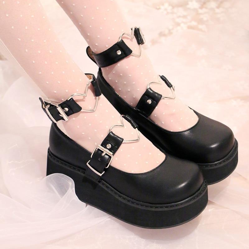 Japanese Lolita Black Shoes Sneakers Love Sweet Princess Cute Student Cos Cospla