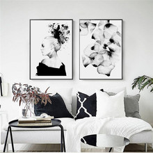 Decoracion Nordica Watercolor Love Black And White Abstract Flower Posters Wall Art Posters And Prints Canvas Prints Unframed