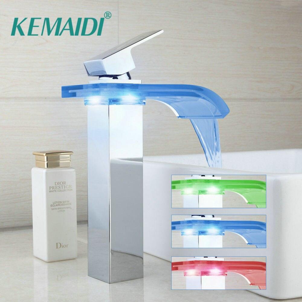 KEMAIDI robinet à LED salle de bain bassin robinet en laiton chromé LED cascade robinets eau puissance bassin LED robinet mitigeur 3 couleurs changer de robinet