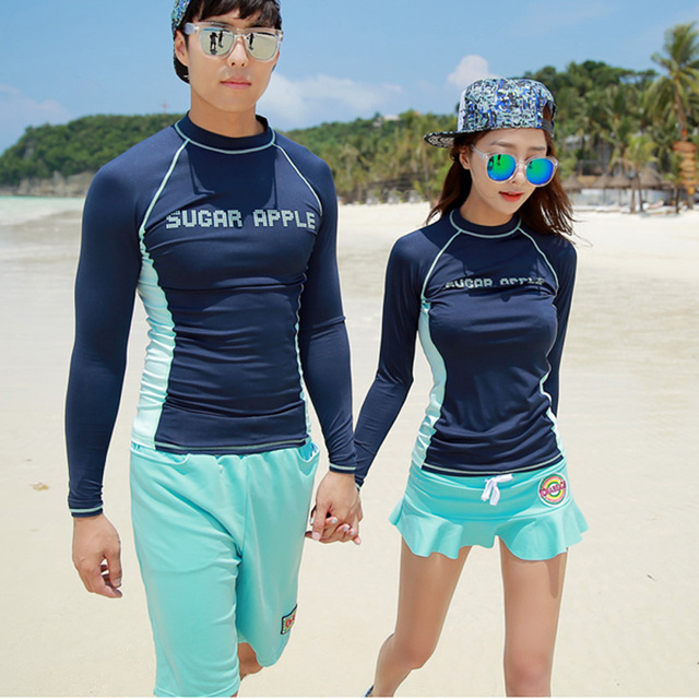 e0f1cc50868 Couples Swimwear Rash Guards Men Women Long Sleeve Shirt skirt Shorts Blue  Solid Color Surfing Bathing