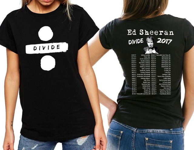3d47bdcc453 Ed Sheeran Divide Tour 2017 T shirt Womens   Ladies Cotton tee USA Size  XS~2XL