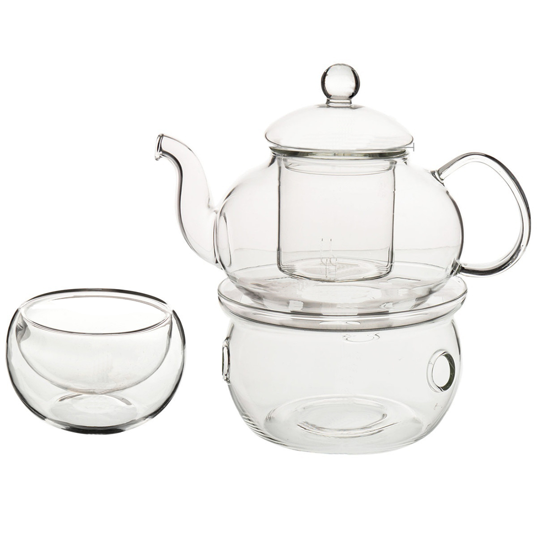 Set of Heat-resistant Glass Teapot with Strainer Flowers And Flower Tea Kung Fu Tea Gift 600mL