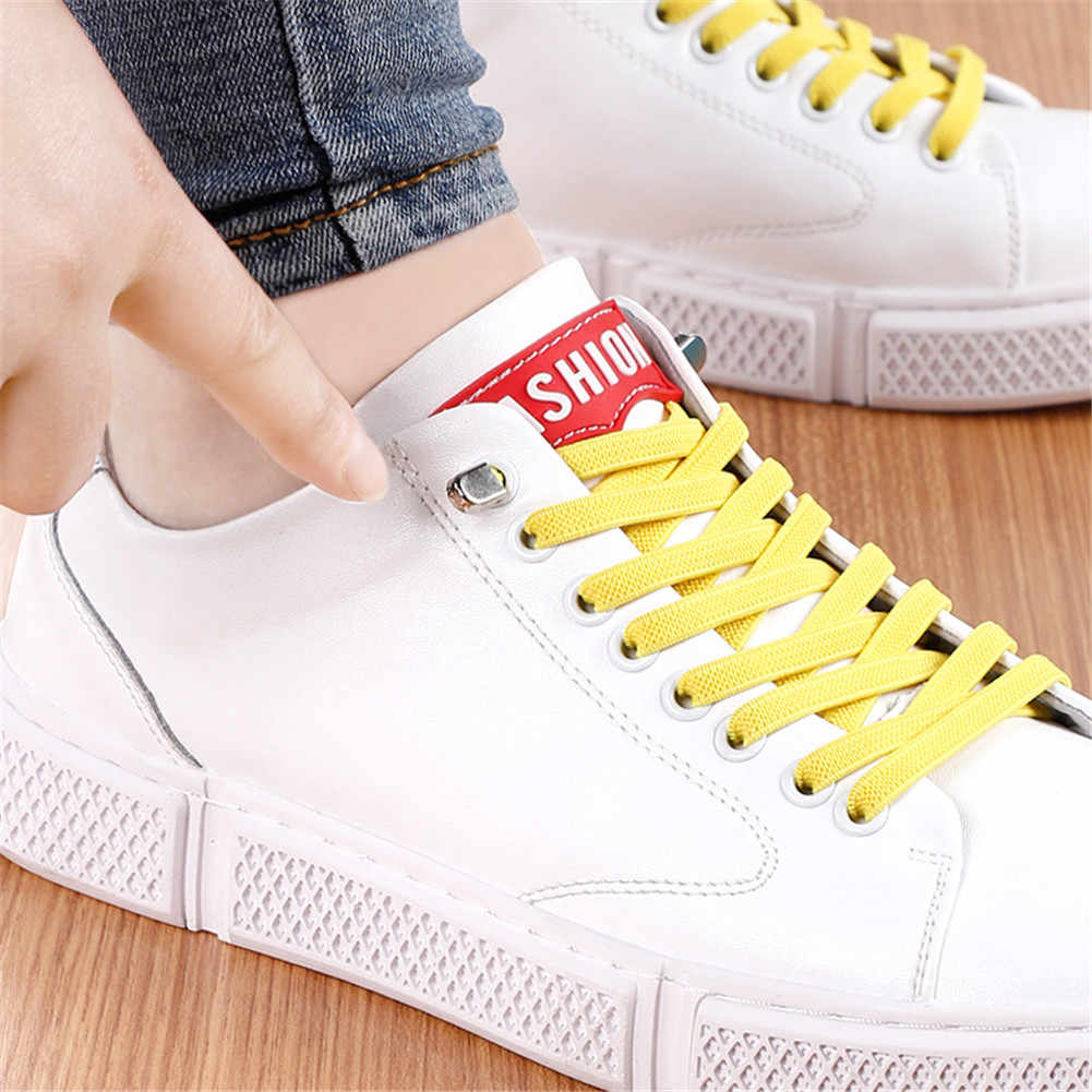 1 คู่ 100 ซม. ไม่มี Tie Lazy ShoeLaces ยืดหยุ่นยางรองเท้าลูกไม้รองเท้าผ้าใบเด็กปลอดภัยเชือกผูกรองเท้า