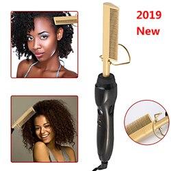 Pente quente uso de cabelo molhado e seco curling iron straightener pente elétrico ambientalmente amigável liga titânio modelador cabelo