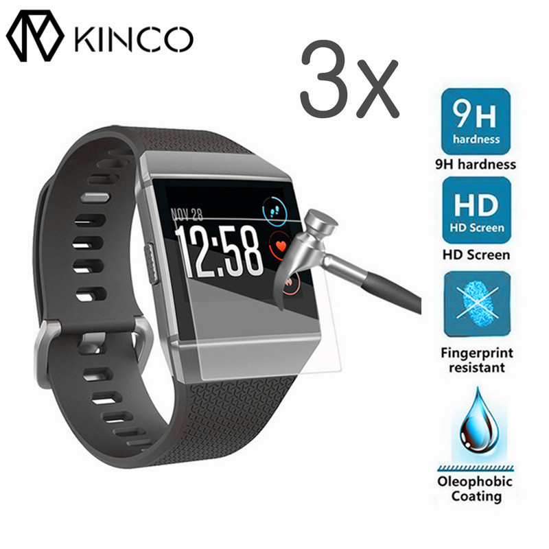 KINCO 3PC/Lot Screen Protector Guard Film Anti-scratch Waterproof Clarity Explosion-proof Films for Fitbit ionic Smart Watch rinco anti scratch pet clear screen guard protector for iphone 4 4s