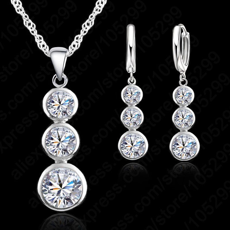 925 Sterling Silver Long Pendant Necklace Earrings Pave AAA CZ Crystal Simple Jewelry Sets For Women Girls Party Birthday Gifts