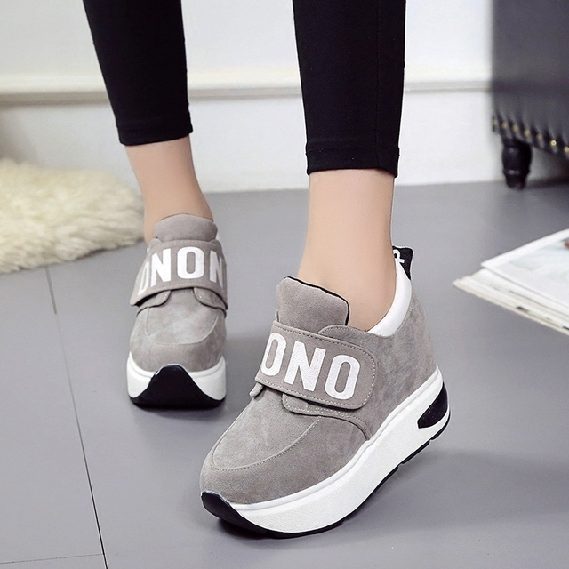 2017 Women Shoes Hidden Wedge Heels Fashion Casual Elevator Shoes Platform  Wedges Loafers Creepers High Heels 977f21d97b00