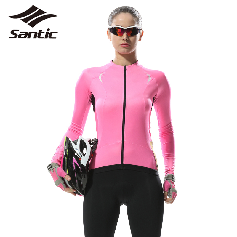 2017 Santic Women Cycling Jersey Full Sleeve Spring Autumn Breathable Anti-UV Sport Bicycle Bike Jersey Clothing Ropa Ciclismo women s cycling shorts cycling mountain bike cycling equipment female spring autumn breathable wicking silicone skirt